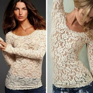 Free People Scandalous Lace Long Sleeve Top L